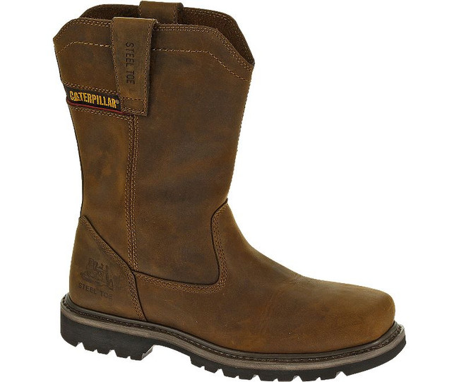 Brown Square Toe Steel Toe Pull On Work Boot by CAT