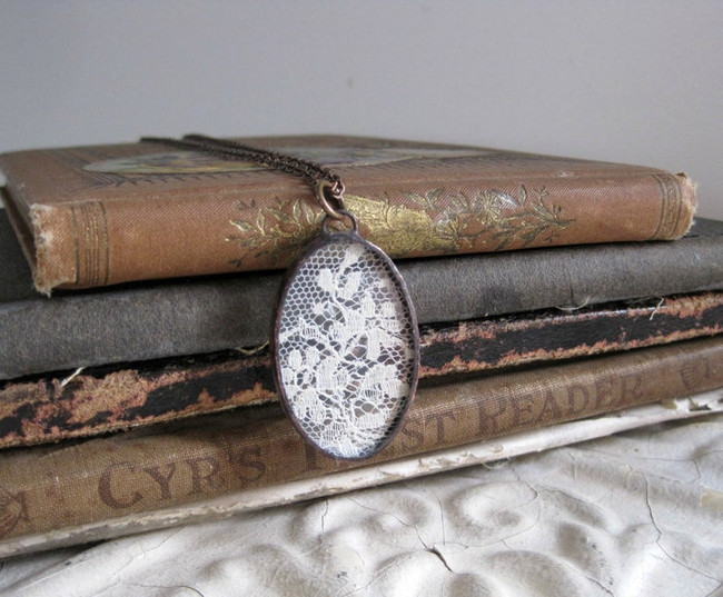 upcycled lace necklace