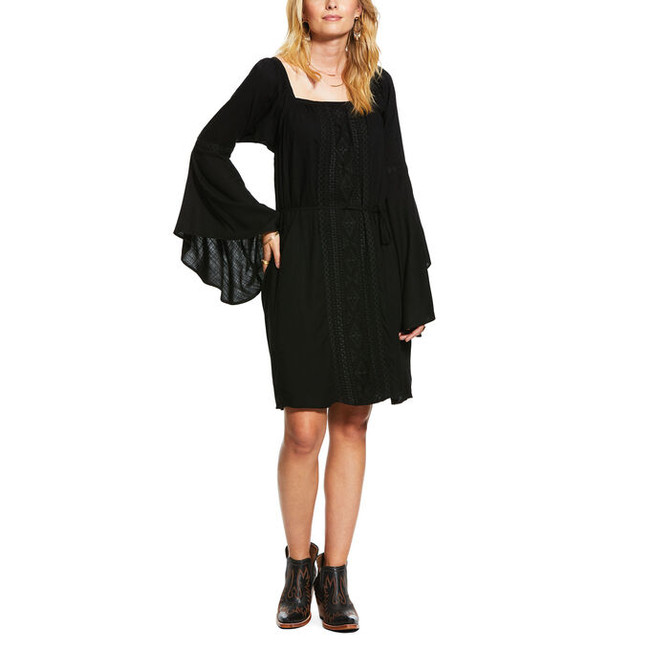 black peasant dress