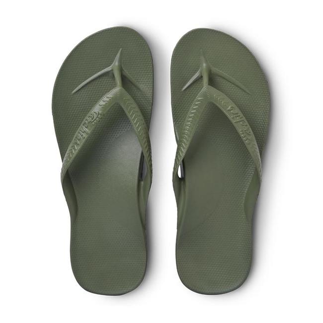 army green flip flops