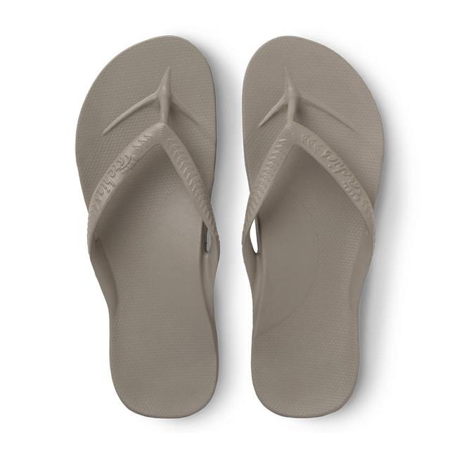 taupe flip flops