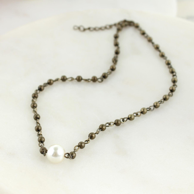 vintage bead and pearl choker necklace