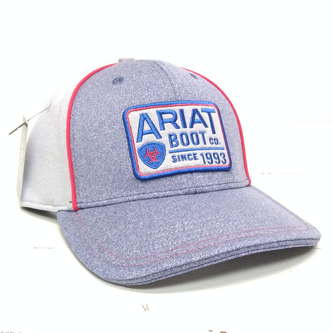 red and blue ariat hat