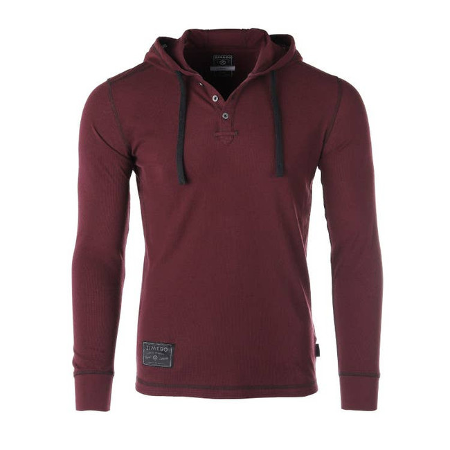 Pullover Hooded Henley Maroon