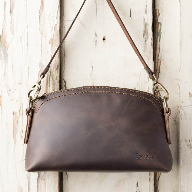 Dark Coffee Brown Small Crossbody or Wristlet  by Love41