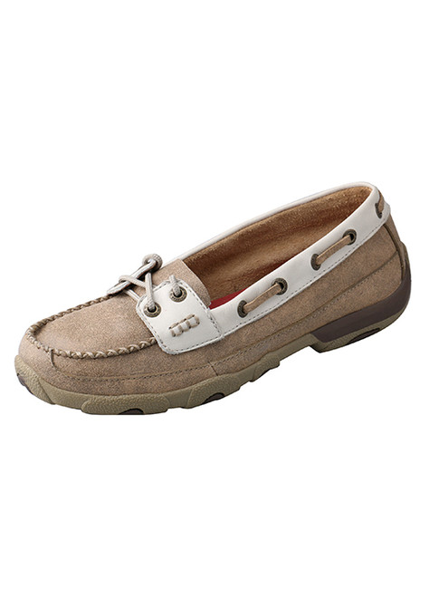 Women's Dusty Tan White Driving Moc by Twisted X
