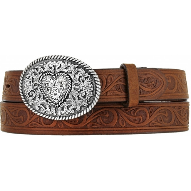 Brown Girl's Heart Buckle Belt by Justin