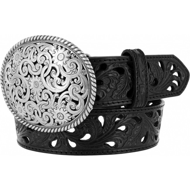 Pierced Filigree Black Belt by Tony Lama