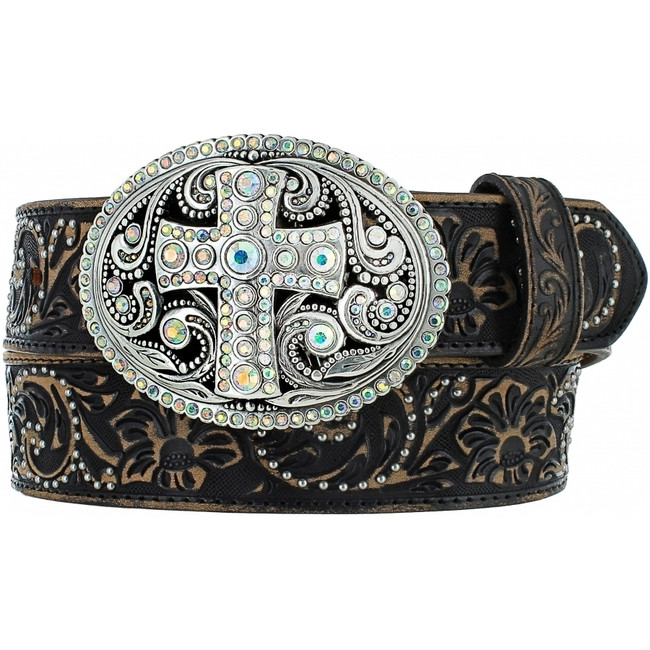 Black Vintage Cross Belt by Justin