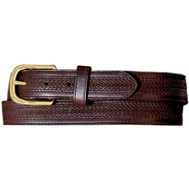 Brown Embossed Leather Belt with Stitching by Leegin