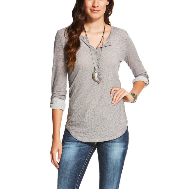 Ladies' Gray Henley by Ariat