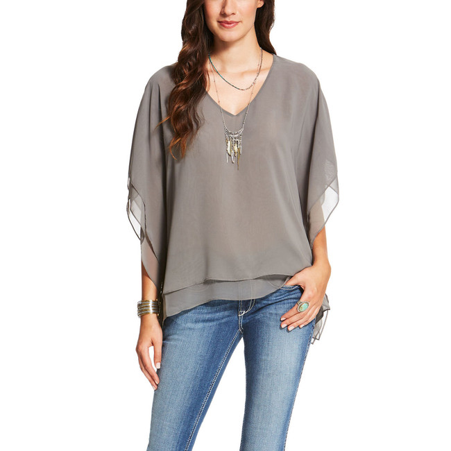 Gray Flowy Top by Ariat