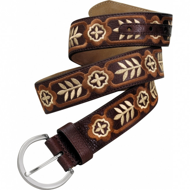 Ladies' embroidered brown leather belt by Brighton