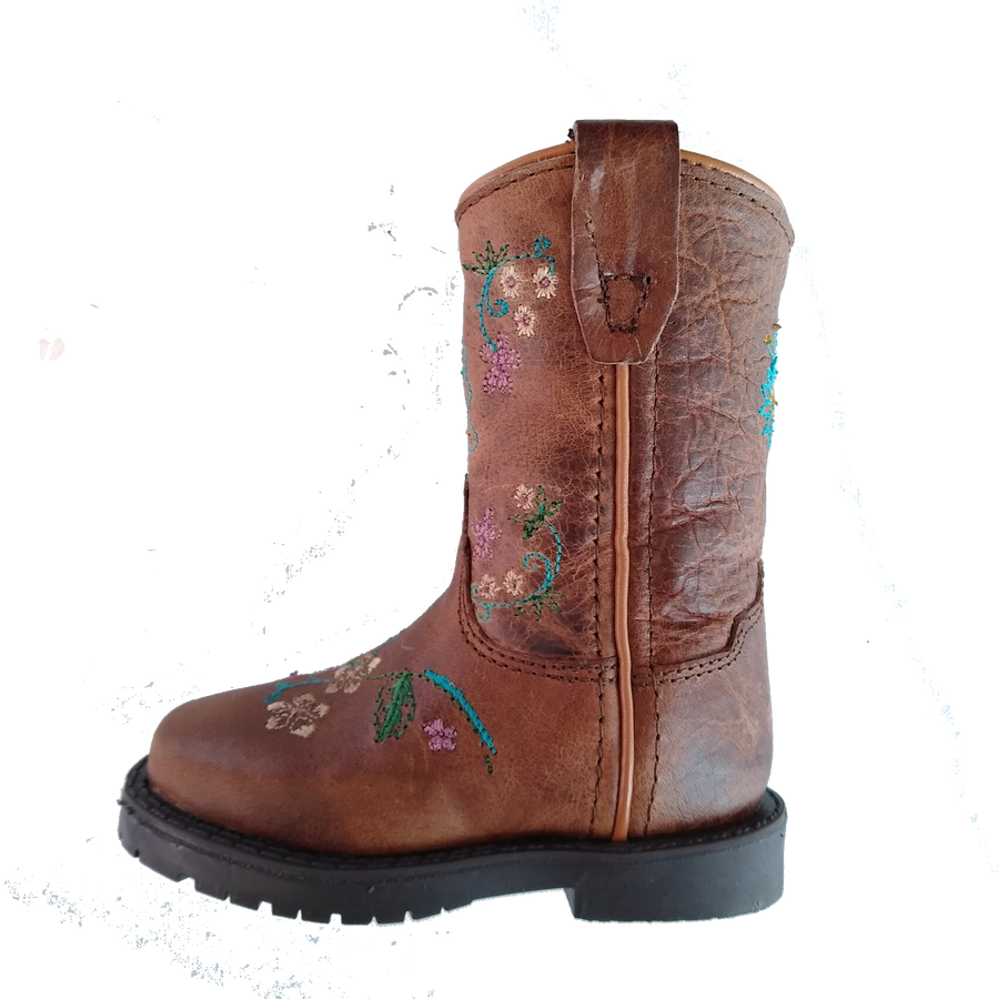 infant boots with flowers on them