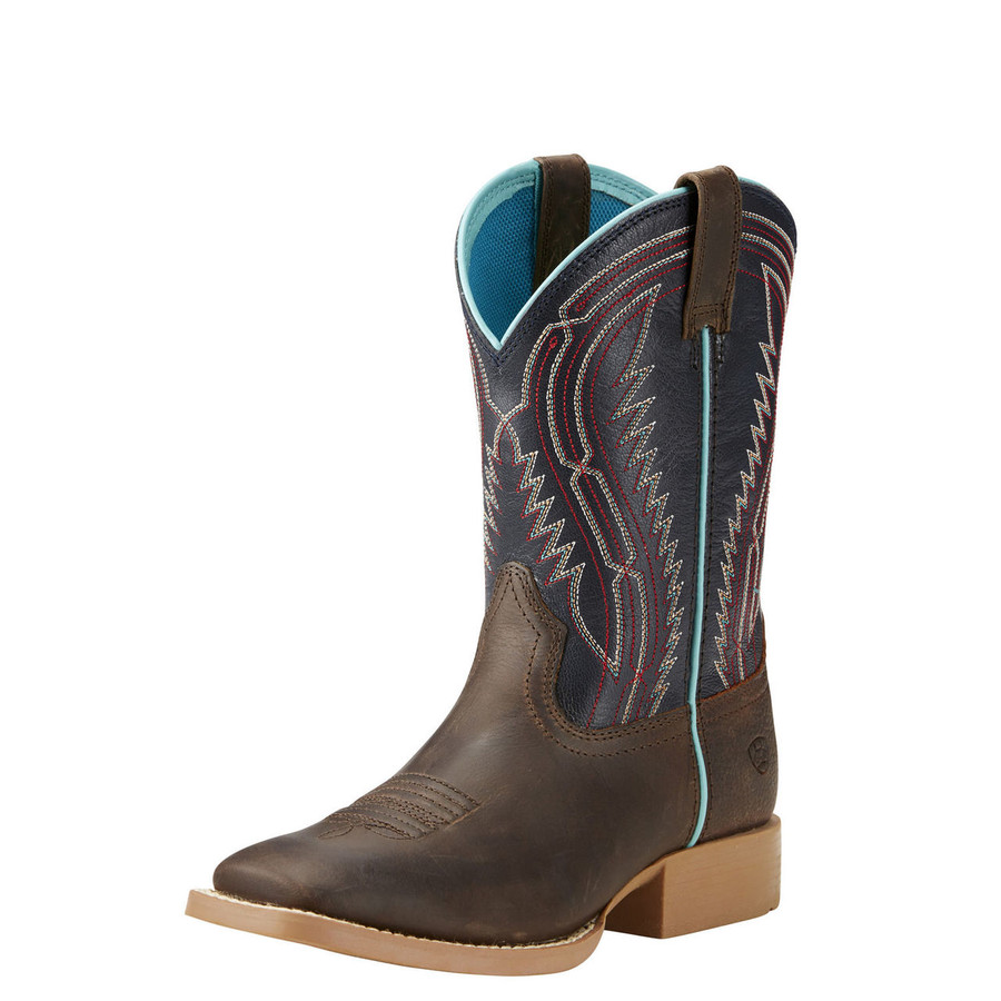 Boy's Square Toe Brown & Blue Cowboy Boot by Ariat