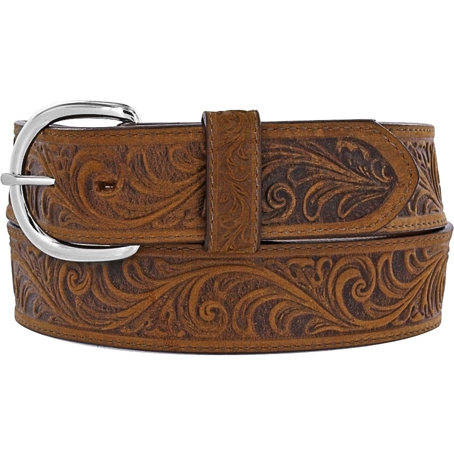 Brown Leather Belt with Tooling by Justin