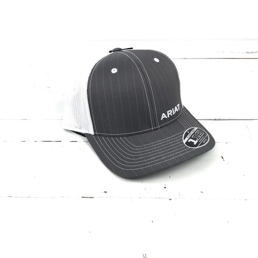 ac8ea36c42ab1 Ariat Flexfit Snap Mesh Hat Grey Pinstripe - The Boot Life