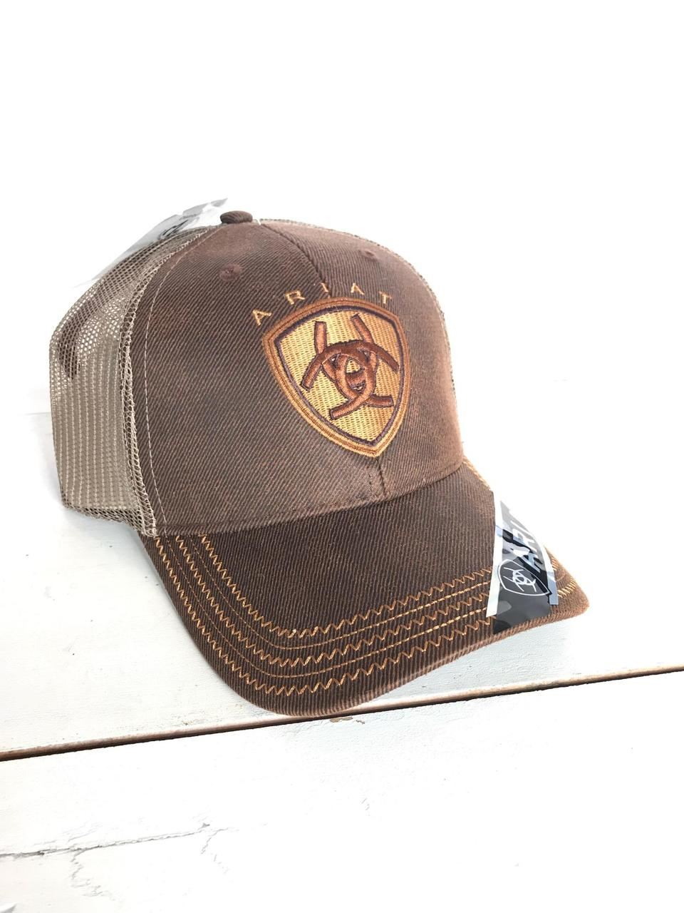 09df1892a027a2 Ariat Velcro Mesh Hat Brown Oilskin - The Boot Life