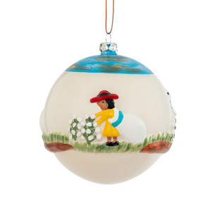 Cotton Picking Round Ball Christmas Ornament