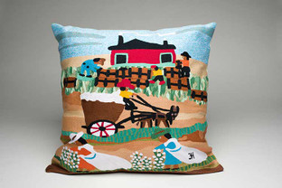 Cotton Mural Hand Embroidered Pillow.