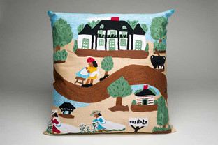 A Day at Melrose Plantation Hand Embroidered Pillow.