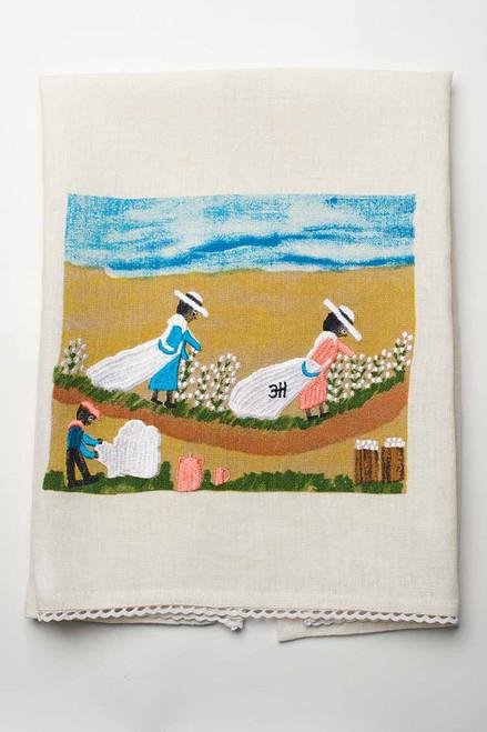 Cotton Picking Linen Tea Towel.