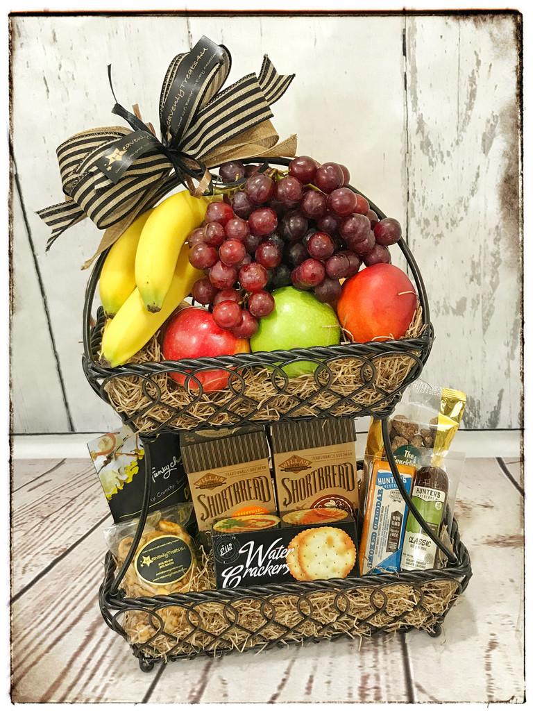 Two Tier Fruit Gourmet Extraordinaire Gift Basket
