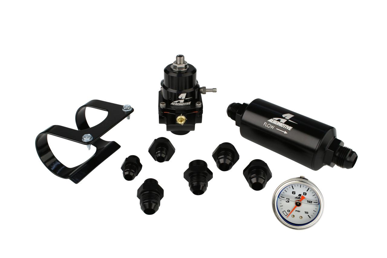 Aeromotive 17256 System, Fuel, Stealth, Bypass Carb (Regulator, Filter, Filter Bracket, Gauge, Fittings)