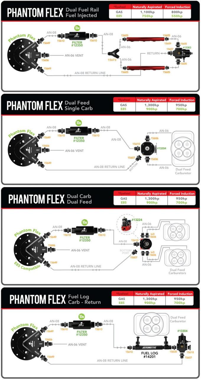 "Aeromotive 18310 Fuel Pump, Universal, Phantom Flex (Alternative Fuel Compatible), 450lph, 6-10"" Depth"