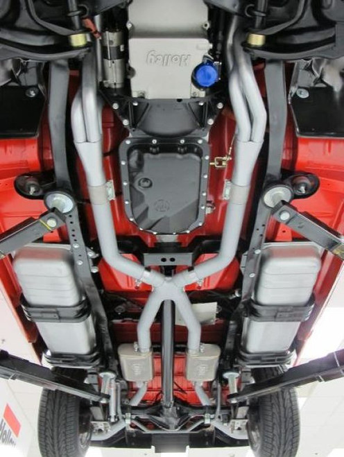 "HOOKER HEADER BACK EXHAUST SYSTEM - 2.5"", Side Exit, 409SS Tubing with 304SS Mufflers"