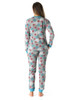 6372-10195-MNT-XL #FollowMe Women's Printed Henley Thermal Underwear Set with Jogger Pant