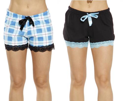 Cotton PJ Shorts - Lace Trim (Pack of 2)