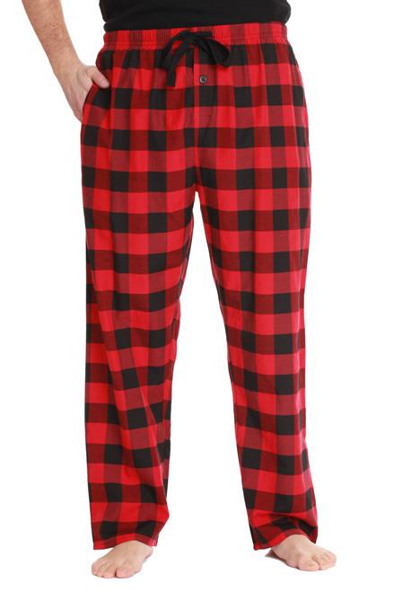 Mens Solid Plaid Pajama Pants with Pockets