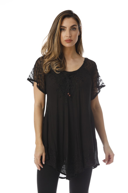 Mesh Sleeve Lace up Embroidered Tunic Top