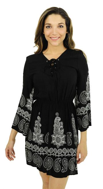 Lace Up 3/4 Sleeve Boho Paisley Dress