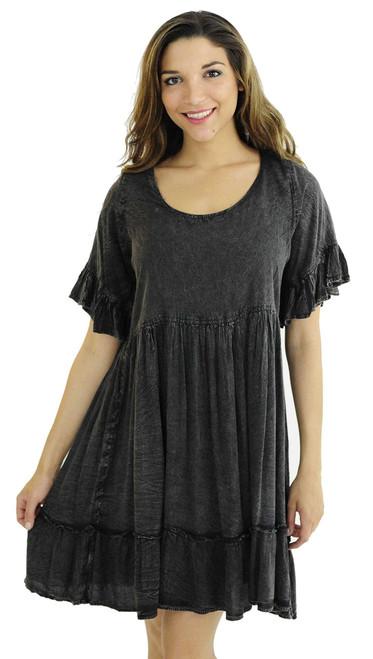 Acid Wash Tiered Dress