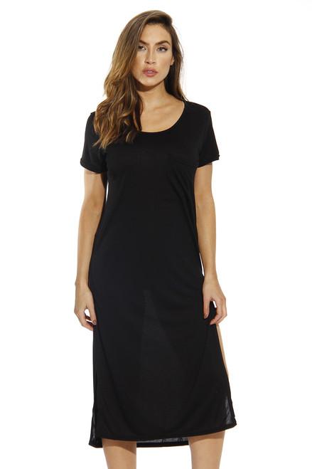 High Slit Modal T Shirt Dress
