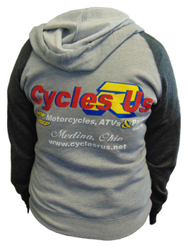 Cycles R Us Hoodie Sweatshirt Gray/Dark Gray Womans Cut Small
