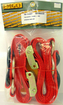 """Emgo Motorcycle ATV Quick Pull Tie Down Straps 1""""x66"""" 1x66 Pair RED 78-73357"""