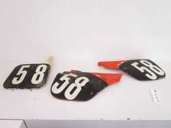 1987 Honda CR 250 Left Right Front Number Plate Side Panel Plastic