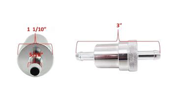 "EMGO Inline 5/16"" Fuel Filter Chrome fits Honda Kawasaki Yamaha Suzuki"