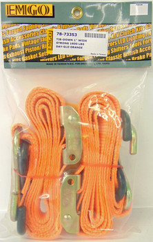 "Emgo 1""x66"" Motorcycle ATV Quick Pull Tie Down Straps Pair ORANGE 78-73353"