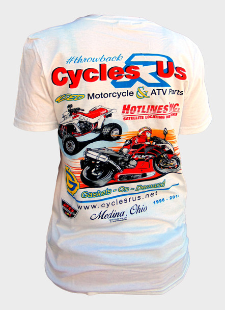 Cycles R Us Throwback Tee Shirt Large White