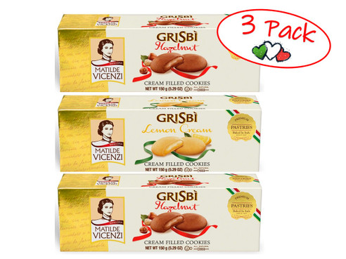 Cookies Grisbi Filled With Hazelnut Cream and Lemon Cream, Vicenzi, Italy, 5.29 oz (150 g) - 3 PACK