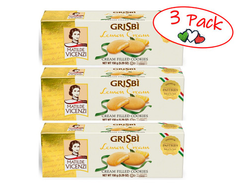 Cookies, Grisbi Filled with Lemon Cream , Vicenzi, Italy, 5.29 oz (150 g) - 3 PACK
