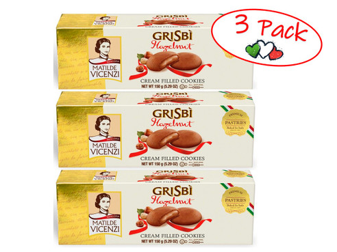 Cookies Grisbi Filled With Hazelnut Cream, Vicenzi, Italy, 5.29 oz (150 g) - 3 PACK