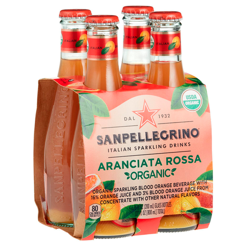 Aranciata Rossa Sparkling, Red Orange Drink Soda, 4 Bottles, Sanpellegrino, Bergamo, Italy, 6.75 fl oz (200 ml)