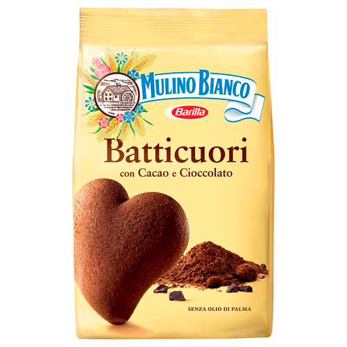Cookies Batticuori With Chocolate And Cocoa Cacao, Mulino Bianco, Italy,  12.35 oz (350 g)
