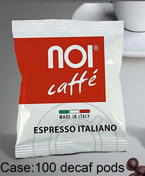 Espresso Coffee Pods Decaf , Napoli, Italy, Noi Caffe, Kit (100 pods, sugar packs, stirrers, cups)