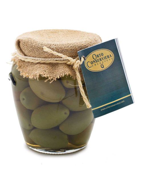 Cerignola  Green Olives Jar, Orto, Italy, 10.5 Oz